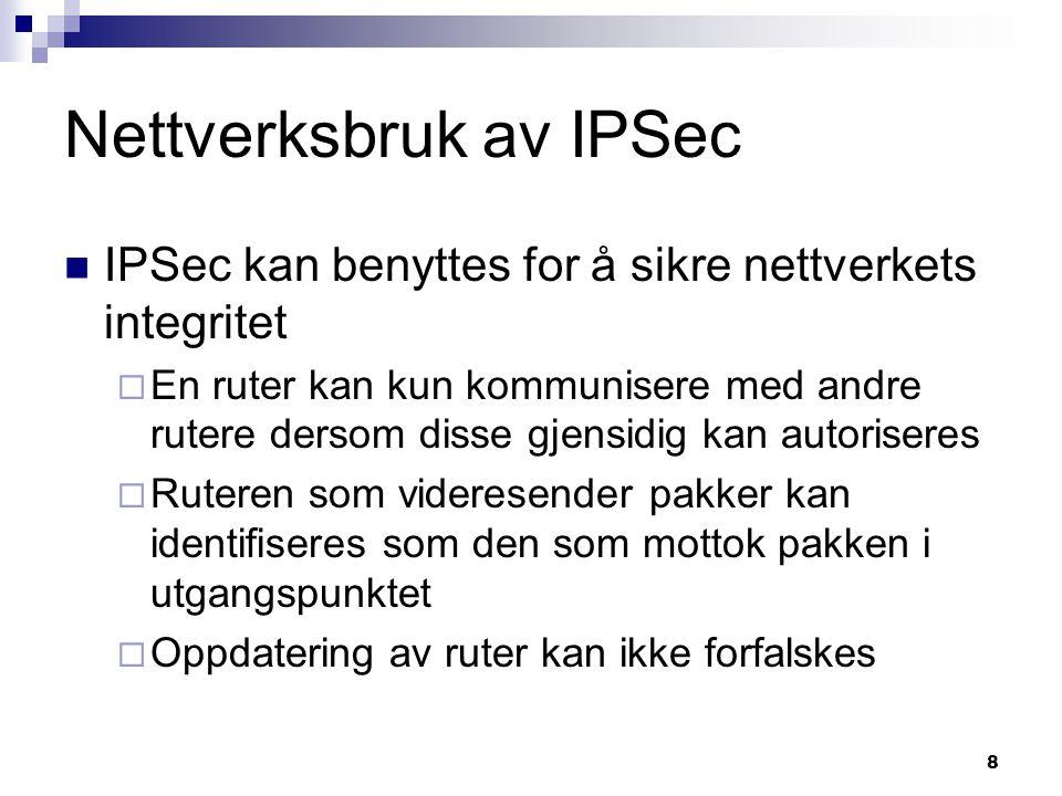 9 IPSec tjenester Adgangskontroll Autentisering av opprinnelsessted Forkasting av feilsendte pakker Konfidensialitet (kryptering) Begrenset skjuling av trafikkflyt