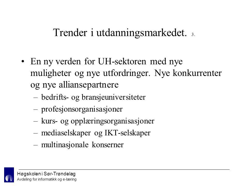 Høgskolen i Sør-Trøndelag Avdeling for informatikk og e-læring Spørsmål Kan du tenke deg å følge nettbasert undervisning.