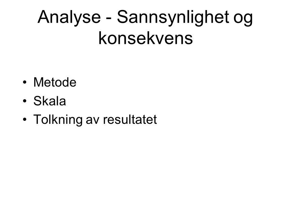 Analyse - Sannsynlighet og konsekvens Metode Skala Tolkning av resultatet