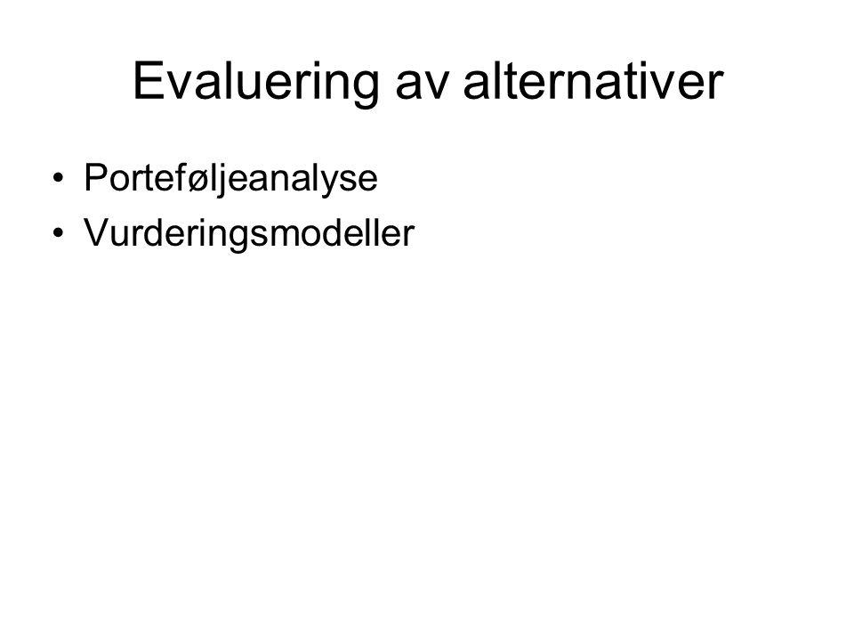 Evaluering av alternativer Porteføljeanalyse Vurderingsmodeller
