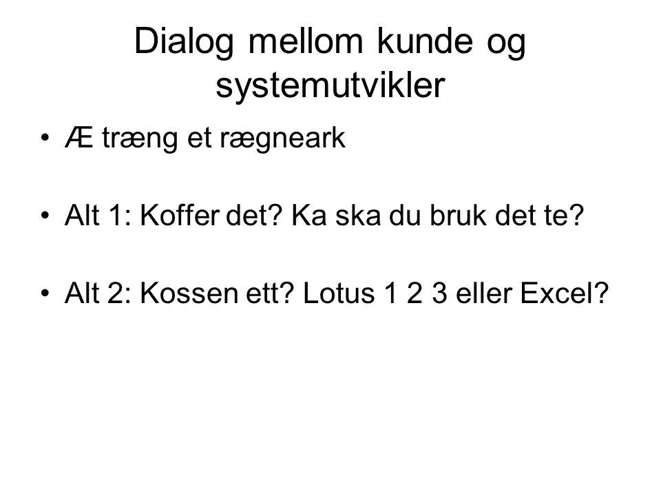 Dialog mellom kunde og systemutvikler Æ træng et rægneark Alt 1: Koffer det? Ka ska du bruk det te? Alt 2: Kossen ett? Lotus 1 2 3 eller Excel?