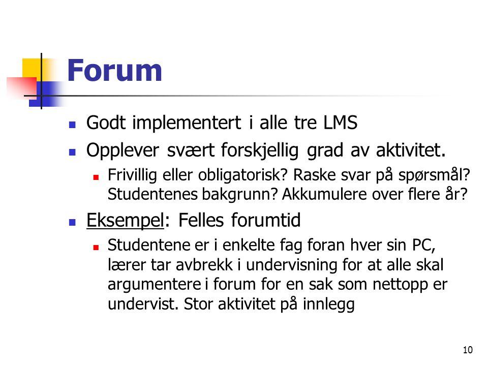 10 Forum Godt implementert i alle tre LMS Opplever svært forskjellig grad av aktivitet.