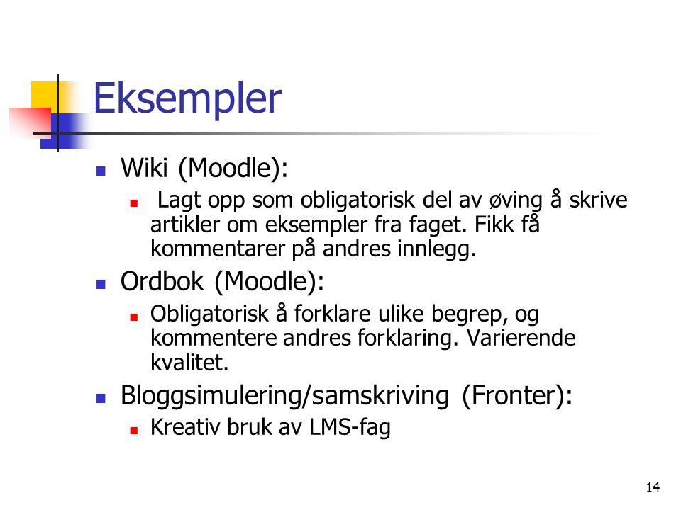 14 Eksempler Wiki (Moodle): Lagt opp som obligatorisk del av øving å skrive artikler om eksempler fra faget.