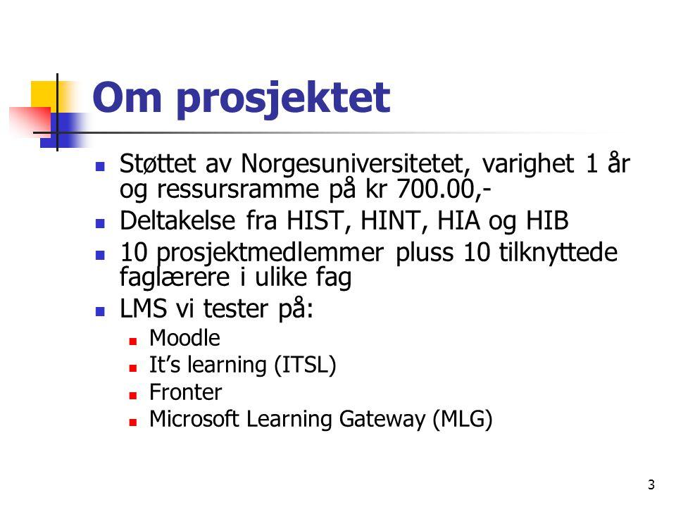 3 Om prosjektet Støttet av Norgesuniversitetet, varighet 1 år og ressursramme på kr 700.00,- Deltakelse fra HIST, HINT, HIA og HIB 10 prosjektmedlemmer pluss 10 tilknyttede faglærere i ulike fag LMS vi tester på: Moodle It's learning (ITSL) Fronter Microsoft Learning Gateway (MLG)