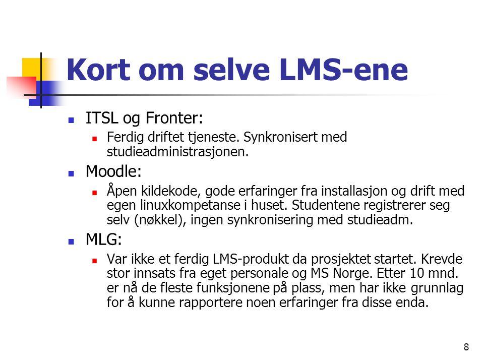 8 Kort om selve LMS-ene ITSL og Fronter: Ferdig driftet tjeneste.