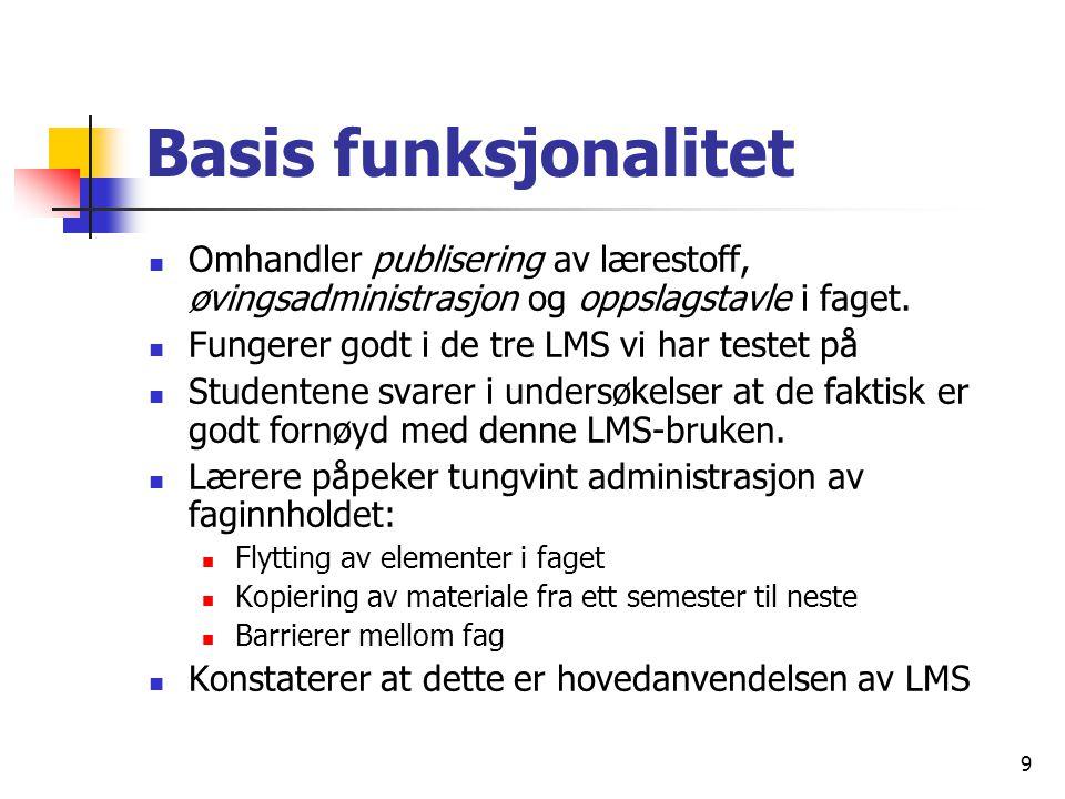 9 Basis funksjonalitet Omhandler publisering av lærestoff, øvingsadministrasjon og oppslagstavle i faget.