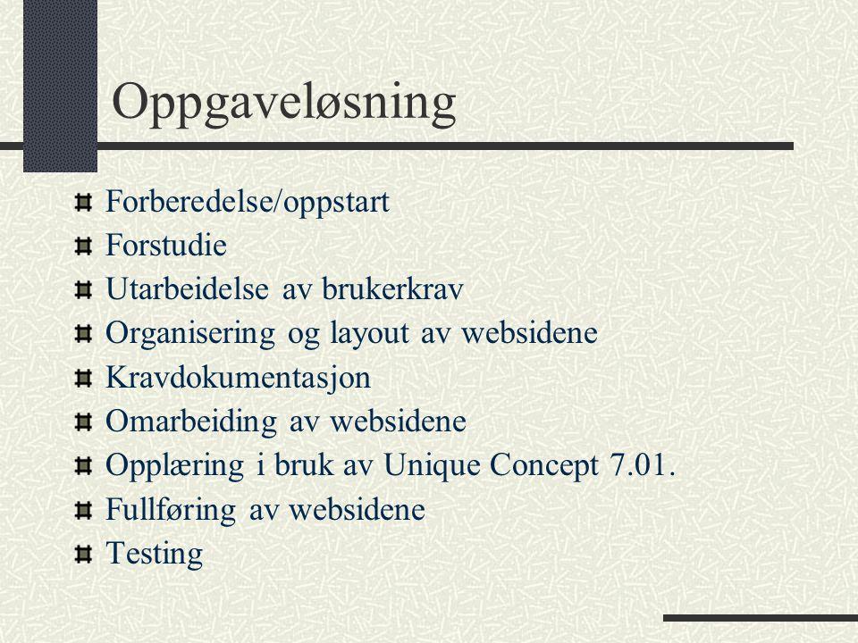 Oppgaveløsning Forberedelse/oppstart Forstudie Utarbeidelse av brukerkrav Organisering og layout av websidene Kravdokumentasjon Omarbeiding av websidene Opplæring i bruk av Unique Concept 7.01.