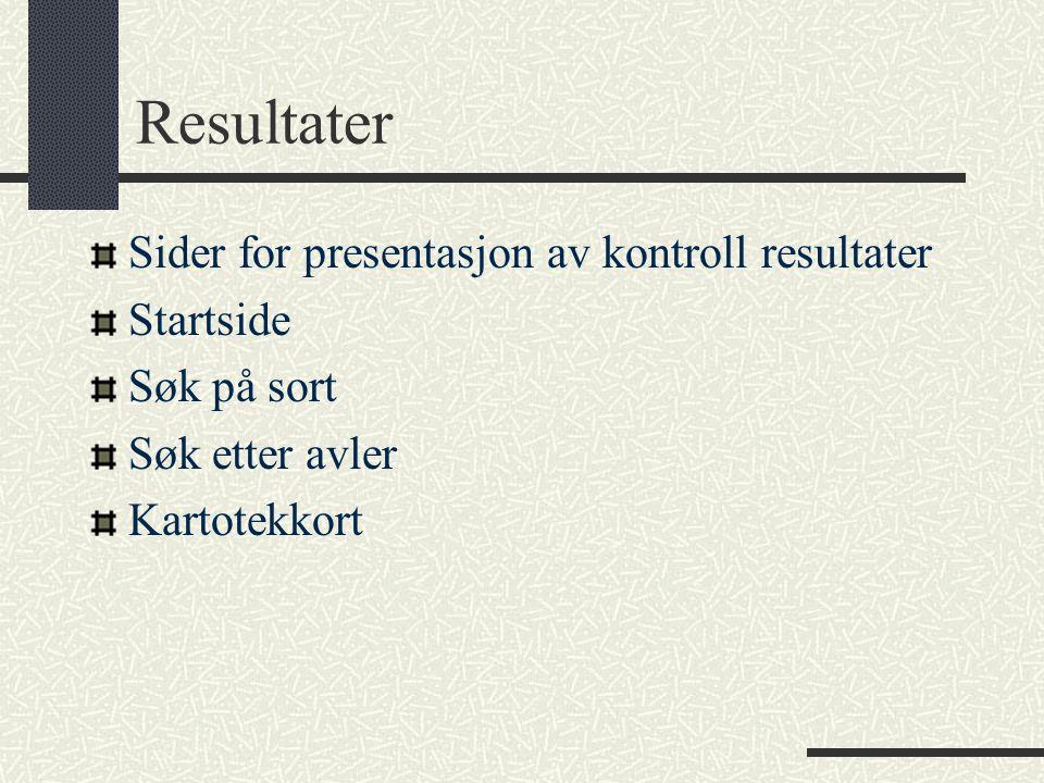 Resultater Sider for presentasjon av kontroll resultater Startside Søk på sort Søk etter avler Kartotekkort