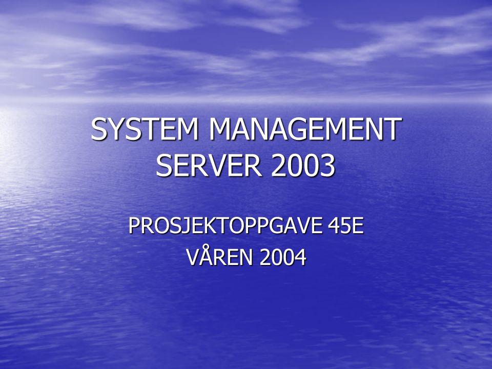 SYSTEM MANAGEMENT SERVER 2003 PROSJEKTOPPGAVE 45E VÅREN 2004