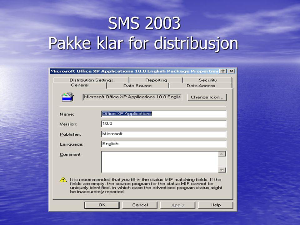 SMS 2003 Pakke klar for distribusjon