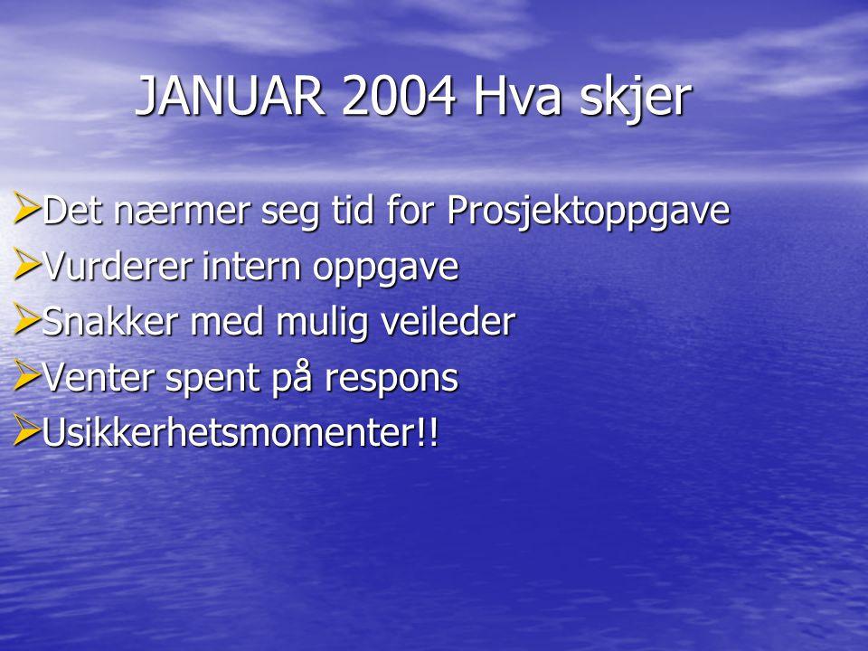 JANUAR 2004 Hva skjer JANUAR 2004 Hva skjer  Det nærmer seg tid for Prosjektoppgave  Vurderer intern oppgave  Snakker med mulig veileder  Venter s