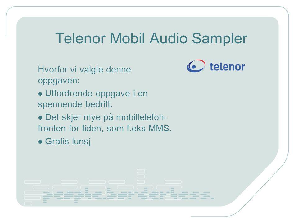 Telenor Mobil Audio Sampler Hvorfor vi valgte denne oppgaven: Utfordrende oppgave i en spennende bedrift.