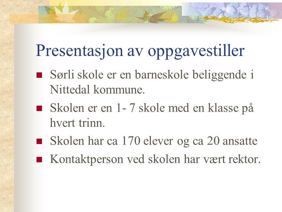Presentasjon av oppgavestiller Sørli skole er en barneskole beliggende i Nittedal kommune. Skolen er en 1- 7 skole med en klasse på hvert trinn. Skole