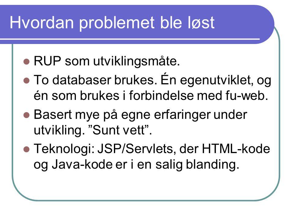 Hvordan problemet ble løst RUP som utviklingsmåte.
