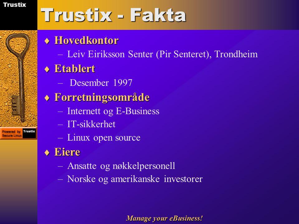 Trustix Manage your eBusiness! Trustix - Fakta  Hovedkontor –Leiv Eiriksson Senter (Pir Senteret), Trondheim  Etablert – Desember 1997  Forretnings