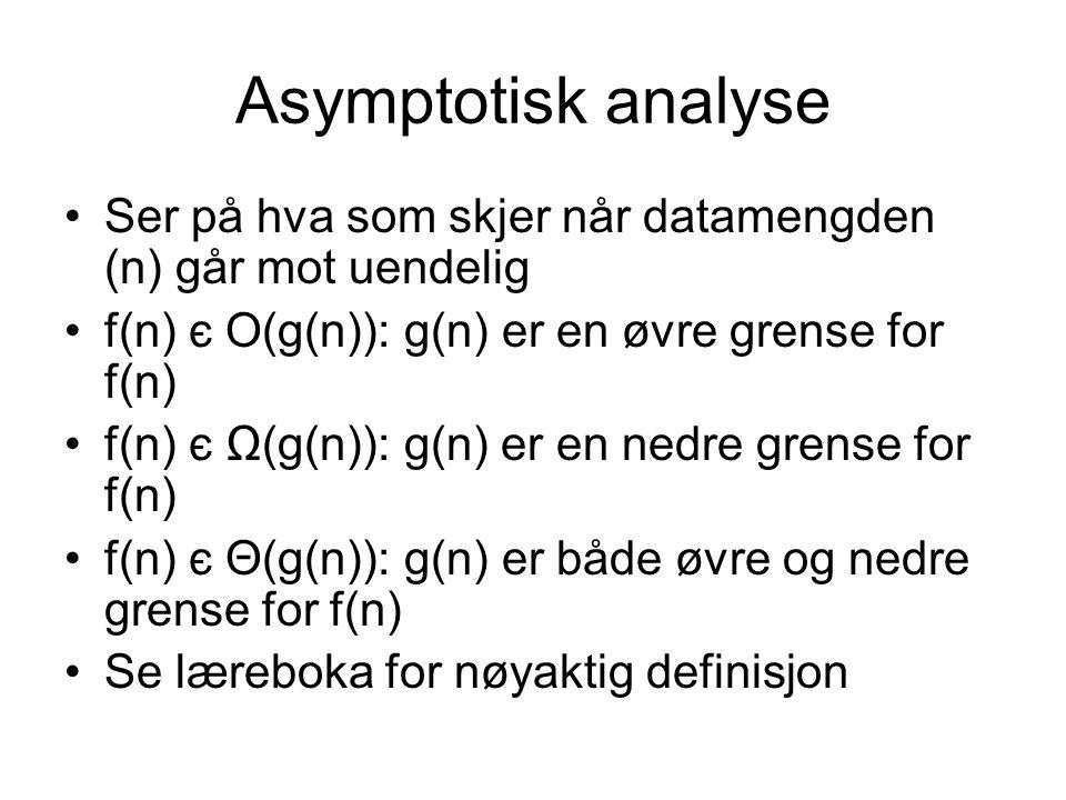 Asymptotisk analyse Ser på hva som skjer når datamengden (n) går mot uendelig f(n) є O(g(n)): g(n) er en øvre grense for f(n) f(n) є Ω(g(n)): g(n) er en nedre grense for f(n) f(n) є Θ(g(n)): g(n) er både øvre og nedre grense for f(n) Se læreboka for nøyaktig definisjon