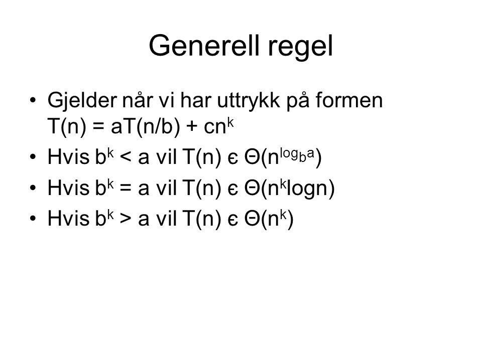 Generell regel Gjelder når vi har uttrykk på formen T(n) = aT(n/b) + cn k Hvis b k < a vil T(n) є Θ(n log b a ) Hvis b k = a vil T(n) є Θ(n k logn) Hv