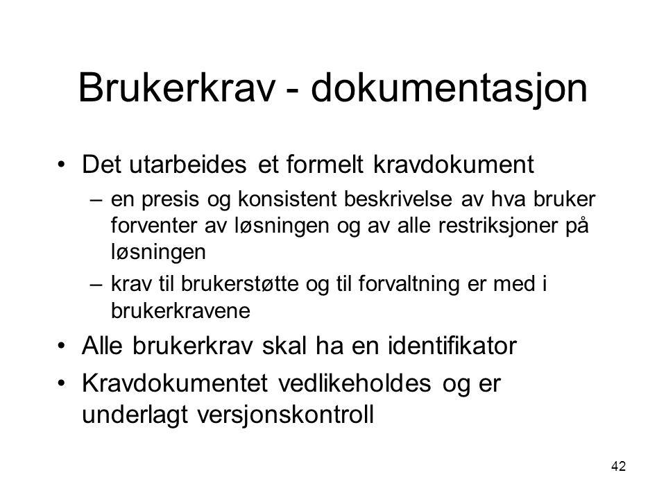 42 Brukerkrav - dokumentasjon Det utarbeides et formelt kravdokument –en presis og konsistent beskrivelse av hva bruker forventer av løsningen og av a