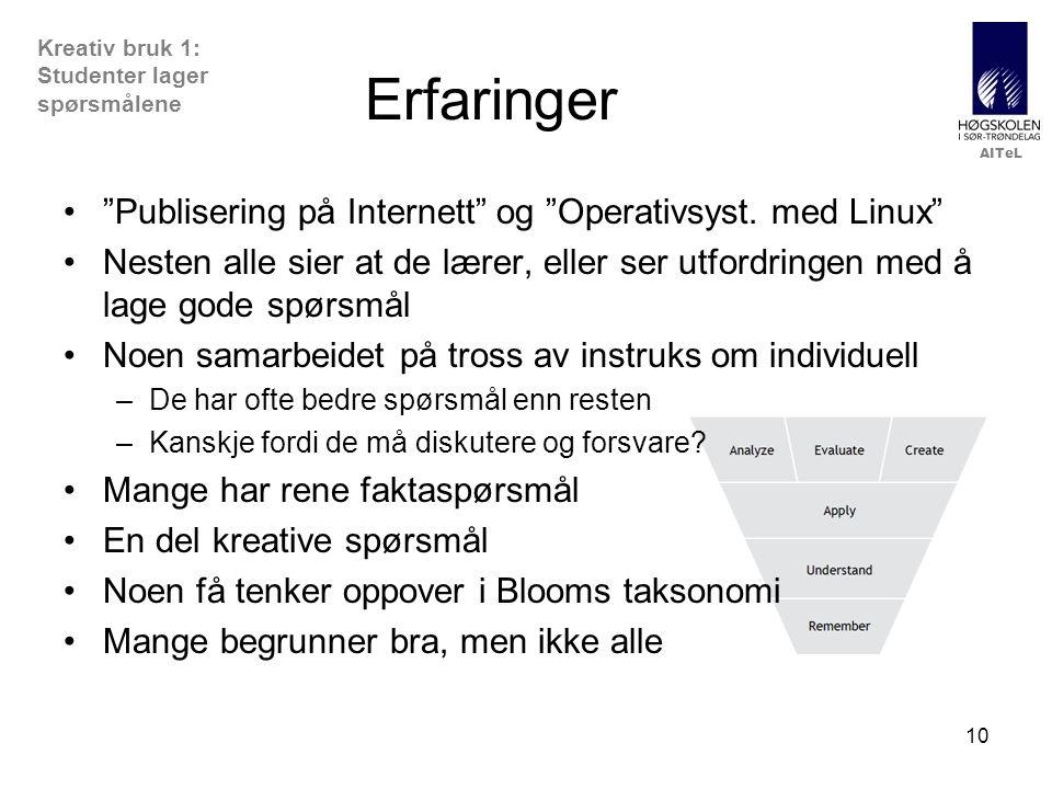 """AITeL 10 Erfaringer """"Publisering på Internett"""" og """"Operativsyst. med Linux"""" Nesten alle sier at de lærer, eller ser utfordringen med å lage gode spørs"""