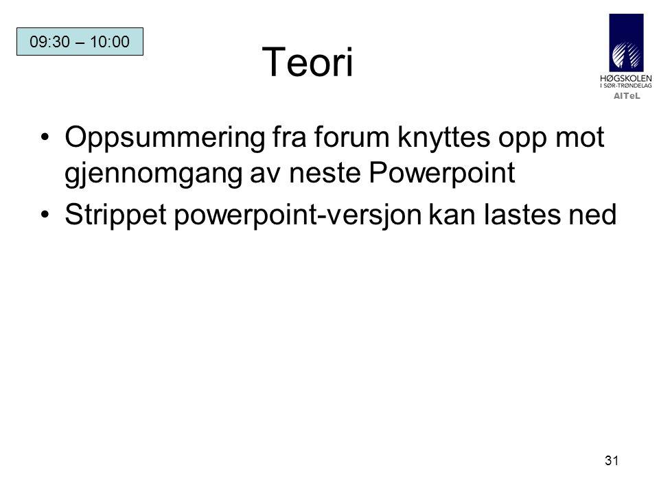 AITeL 31 Teori Oppsummering fra forum knyttes opp mot gjennomgang av neste Powerpoint Strippet powerpoint-versjon kan lastes ned 09:30 – 10:00