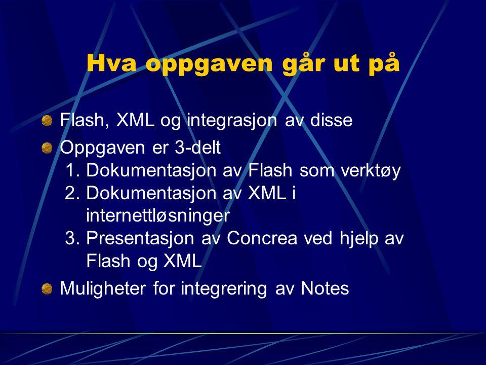 Hva oppgaven går ut på Flash, XML og integrasjon av disse Oppgaven er 3-delt 1. Dokumentasjon av Flash som verktøy 2. Dokumentasjon av XML i internett