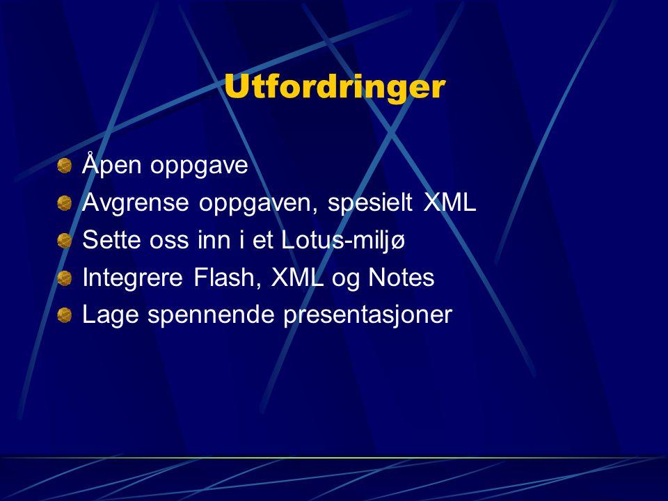 Utfordringer Åpen oppgave Avgrense oppgaven, spesielt XML Sette oss inn i et Lotus-miljø Integrere Flash, XML og Notes Lage spennende presentasjoner