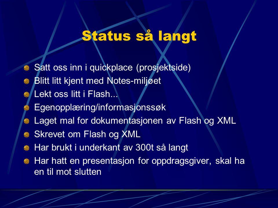 Status så langt Satt oss inn i quickplace (prosjektside) Blitt litt kjent med Notes-miljøet Lekt oss litt i Flash... Egenopplæring/informasjonssøk Lag