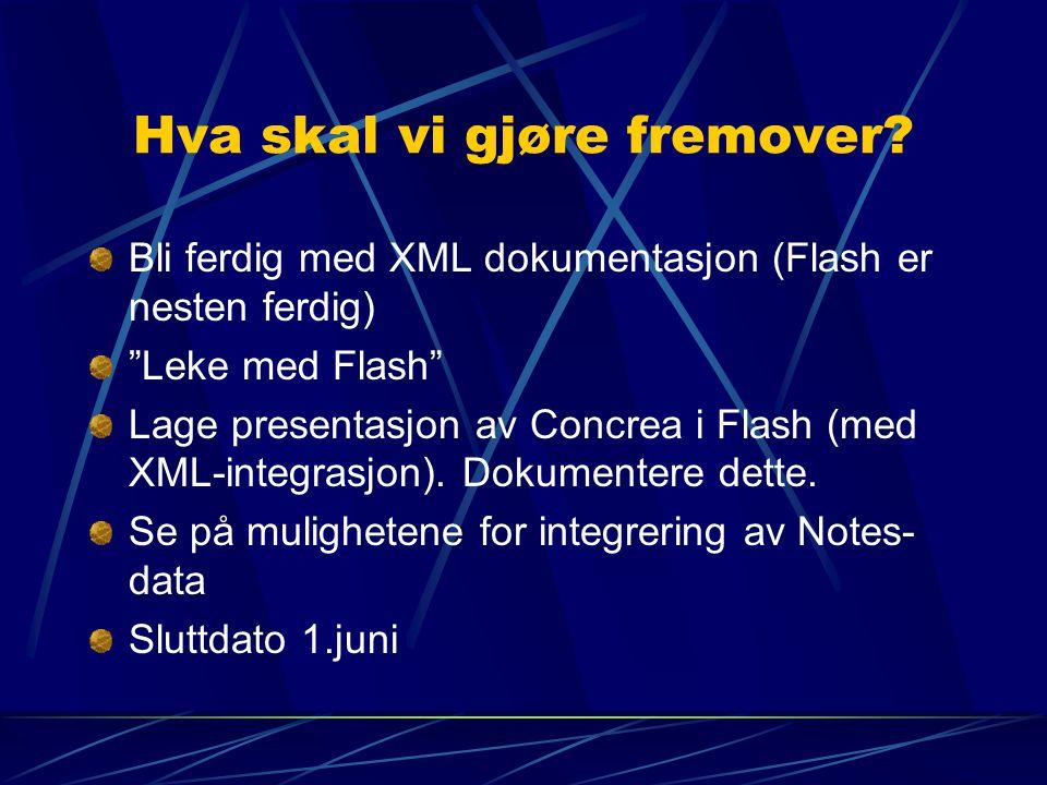 """Hva skal vi gjøre fremover? Bli ferdig med XML dokumentasjon (Flash er nesten ferdig) """"Leke med Flash"""" Lage presentasjon av Concrea i Flash (med XML-i"""