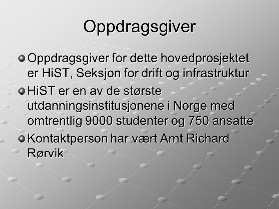 Oppdragsgiver Oppdragsgiver for dette hovedprosjektet er HiST, Seksjon for drift og infrastruktur HiST er en av de største utdanningsinstitusjonene i Norge med omtrentlig 9000 studenter og 750 ansatte Kontaktperson har vært Arnt Richard Rørvik