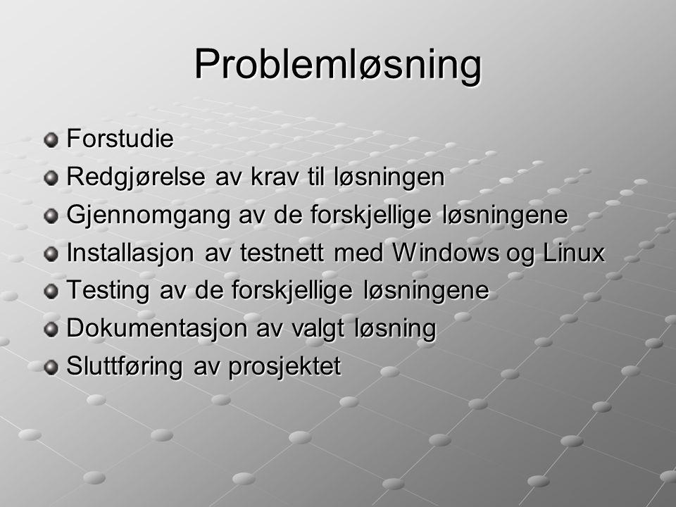 Problemløsning Forstudie Redgjørelse av krav til løsningen Gjennomgang av de forskjellige løsningene Installasjon av testnett med Windows og Linux Testing av de forskjellige løsningene Dokumentasjon av valgt løsning Sluttføring av prosjektet