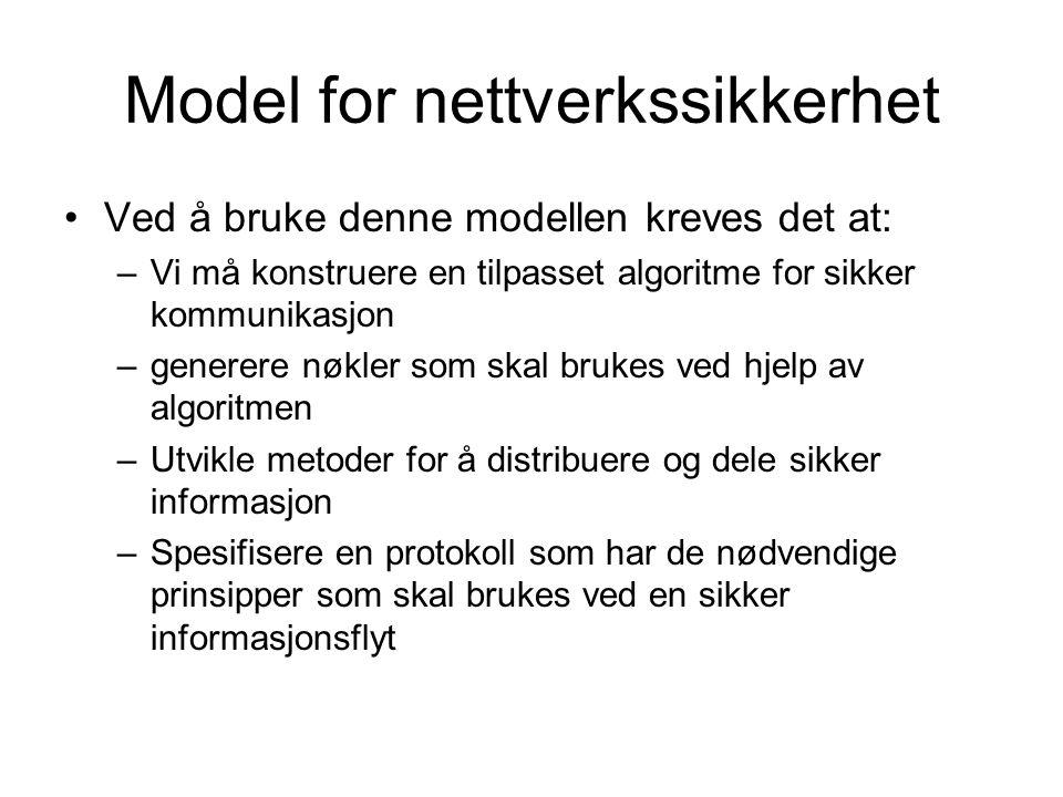 Ved å bruke denne modellen kreves det at: –Vi må konstruere en tilpasset algoritme for sikker kommunikasjon –generere nøkler som skal brukes ved hjelp