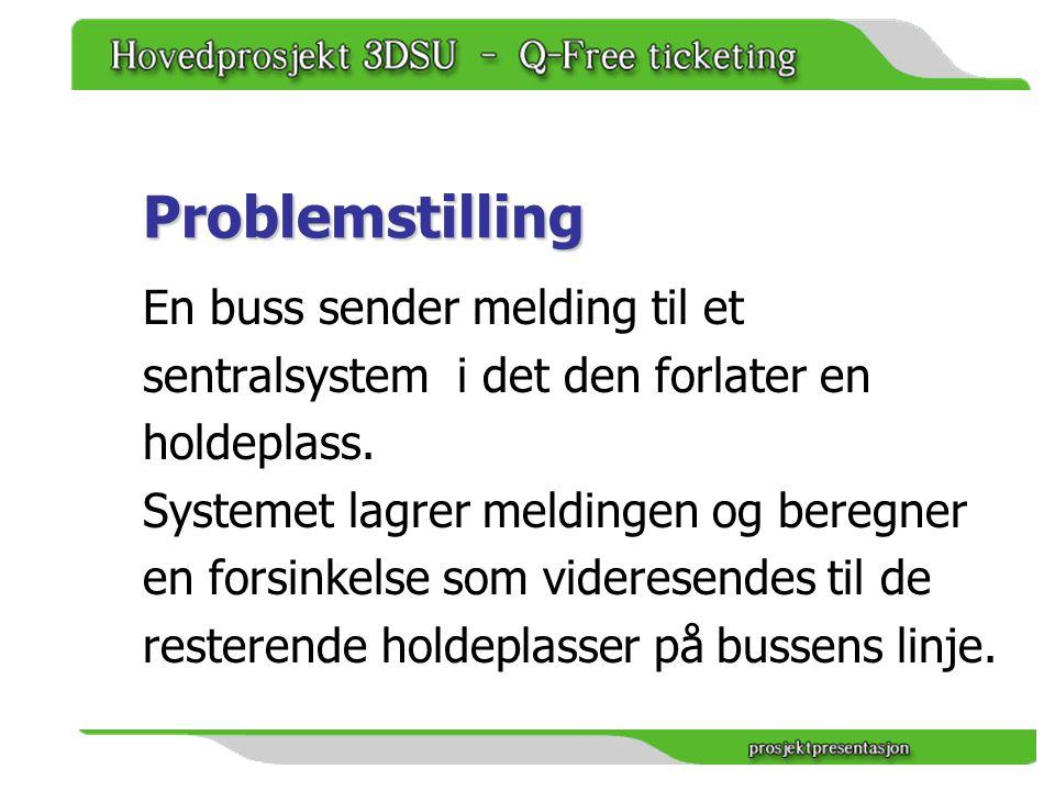 Problemstilling En buss sender melding til et sentralsystem i det den forlater en holdeplass.