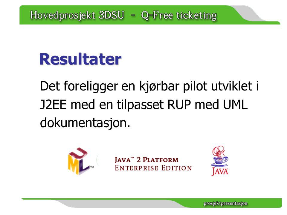 Resultater Det foreligger en kjørbar pilot utviklet i J2EE med en tilpasset RUP med UML dokumentasjon.