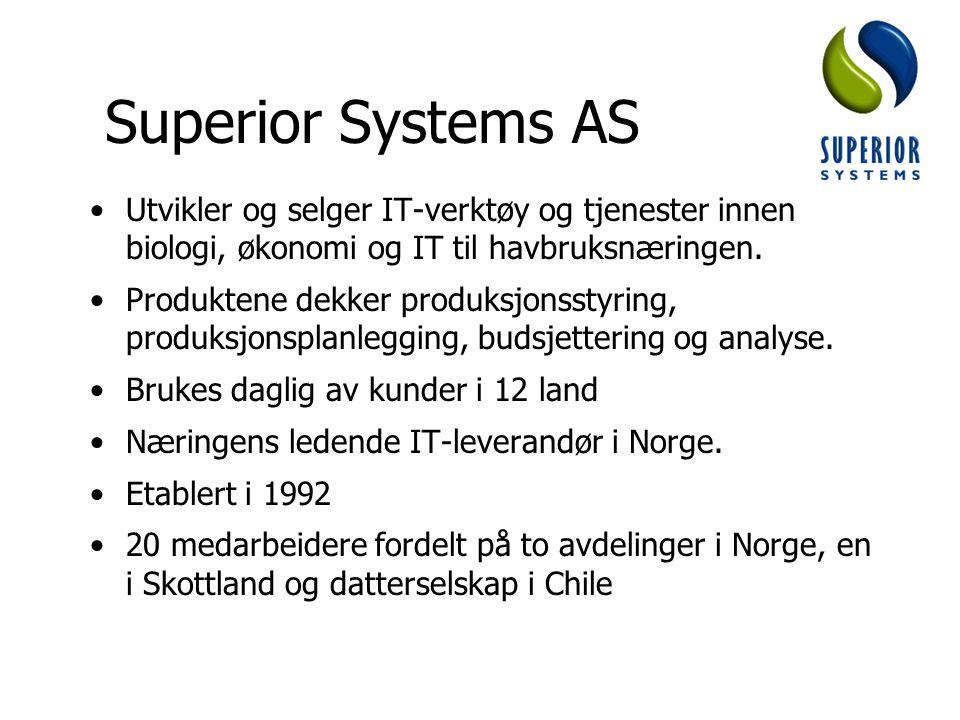 Superior Systems AS Utvikler og selger IT-verktøy og tjenester innen biologi, økonomi og IT til havbruksnæringen. Produktene dekker produksjonsstyring