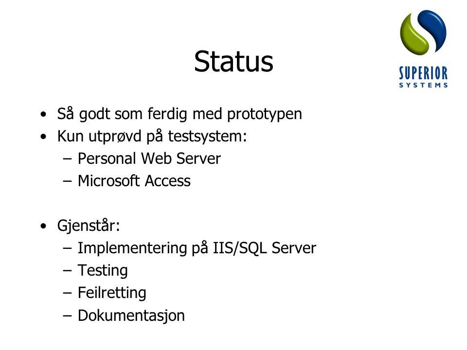 Status Så godt som ferdig med prototypen Kun utprøvd på testsystem: –Personal Web Server –Microsoft Access Gjenstår: –Implementering på IIS/SQL Server