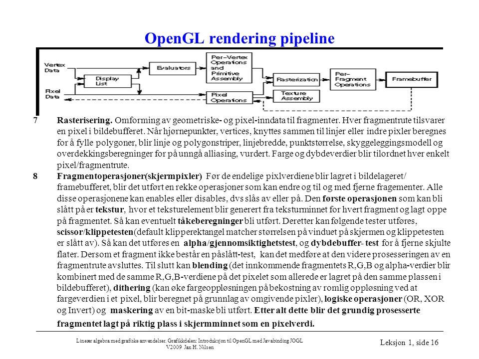 Lineær algebra med grafiske anvendelser. Grafikkdelen: Introduksjon til OpenGL med Javabinding JOGL V2009 Jan H. Nilsen Leksjon 1, side 16 OpenGL rend