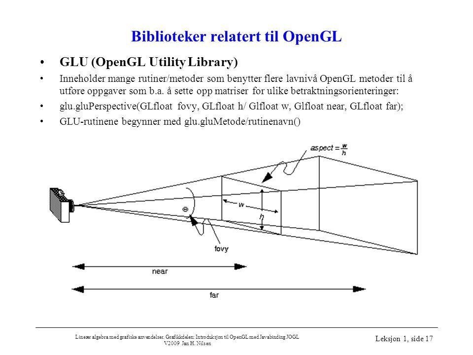 Lineær algebra med grafiske anvendelser. Grafikkdelen: Introduksjon til OpenGL med Javabinding JOGL V2009 Jan H. Nilsen Leksjon 1, side 17 Biblioteker