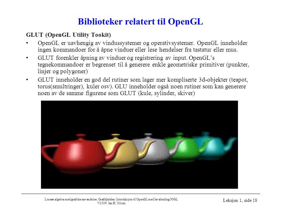 Lineær algebra med grafiske anvendelser. Grafikkdelen: Introduksjon til OpenGL med Javabinding JOGL V2009 Jan H. Nilsen Leksjon 1, side 18 Biblioteker
