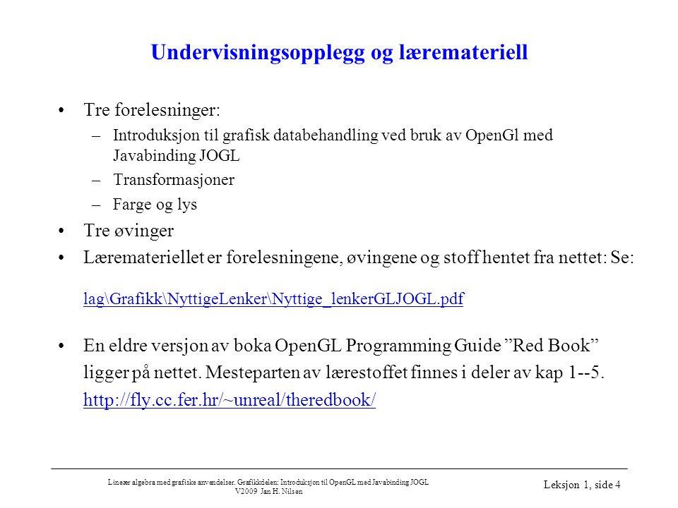 Lineær algebra med grafiske anvendelser. Grafikkdelen: Introduksjon til OpenGL med Javabinding JOGL V2009 Jan H. Nilsen Leksjon 1, side 4 Undervisning
