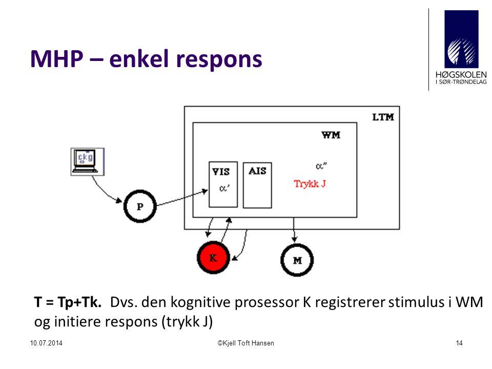 MHP – enkel respons 10.07.2014©Kjell Toft Hansen14 T = Tp+Tk. Dvs. den kognitive prosessor K registrerer stimulus i WM og initiere respons (trykk J)