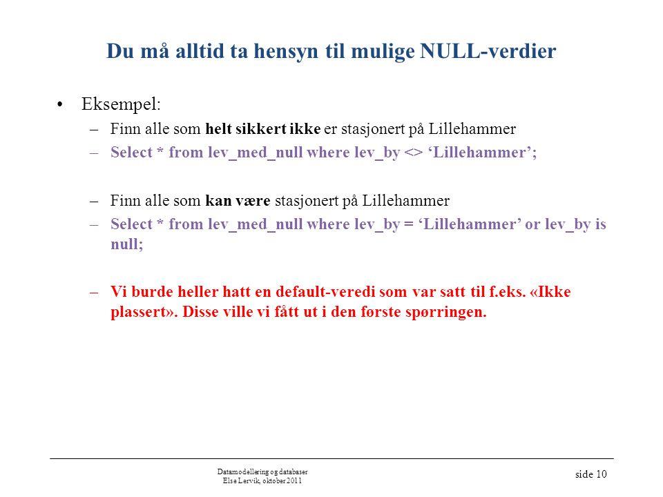 Datamodellering og databaser Else Lervik, oktober 2011 side 10 Du må alltid ta hensyn til mulige NULL-verdier Eksempel: –Finn alle som helt sikkert ikke er stasjonert på Lillehammer –Select * from lev_med_null where lev_by <> 'Lillehammer'; –Finn alle som kan være stasjonert på Lillehammer –Select * from lev_med_null where lev_by = 'Lillehammer' or lev_by is null; –Vi burde heller hatt en default-veredi som var satt til f.eks.