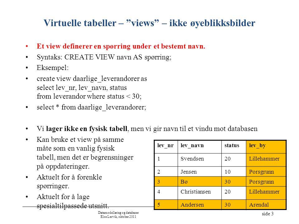 Datamodellering og databaser Else Lervik, oktober 2011 side 4 Oppdatering via virtuelle tabeller (views) Hva skal til for at en skal kunne oppdatere tabeller (insert, delete, update) som vises i et vindu (view).