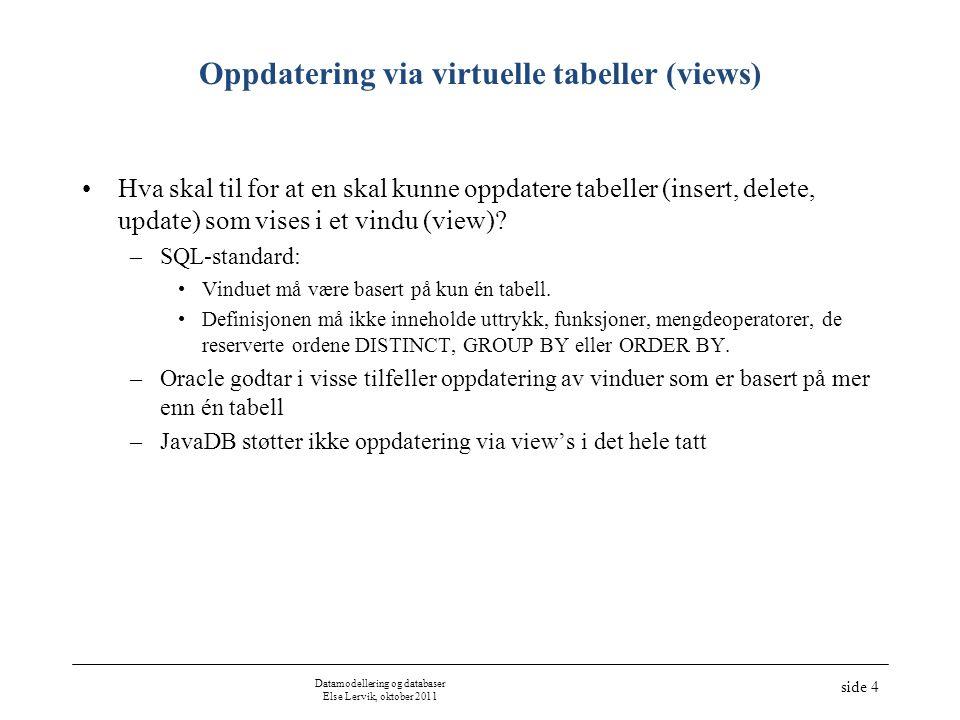 Datamodellering og databaser Else Lervik, oktober 2011 side 5 Oppdatering via virtuelle tabeller (views) (ikke implementert i JavaDB) UPDATE –UPDATE daarlige_leverandorer SET lev_navn = Olsen WHERE lev_nr = 5; DELETE –DELETE FROM daarlige_leverandorer WHERE lev_nr = 4; –(krever: DELETE FROM leveranse WHERE lev_nr = 4; ) INSERT –INSERT INTO daarlige_leverandorer VALUES(8, Bye , 40 ); –Opprettes, men vises ikke i den virtuelle tabellen –WITH CHECK OPTION forhindrer at rader som ikke passer inn i den virtuelle tabellen blir lagt inn: –CREATE VIEW daarlige_leverandorer2 AS SELECT lev_nr, lev_navn,status FROM leverandor WHERE status < 30 WITH CHECK OPTION; Forandrer dataene i den fysiske tabellen leverandor.