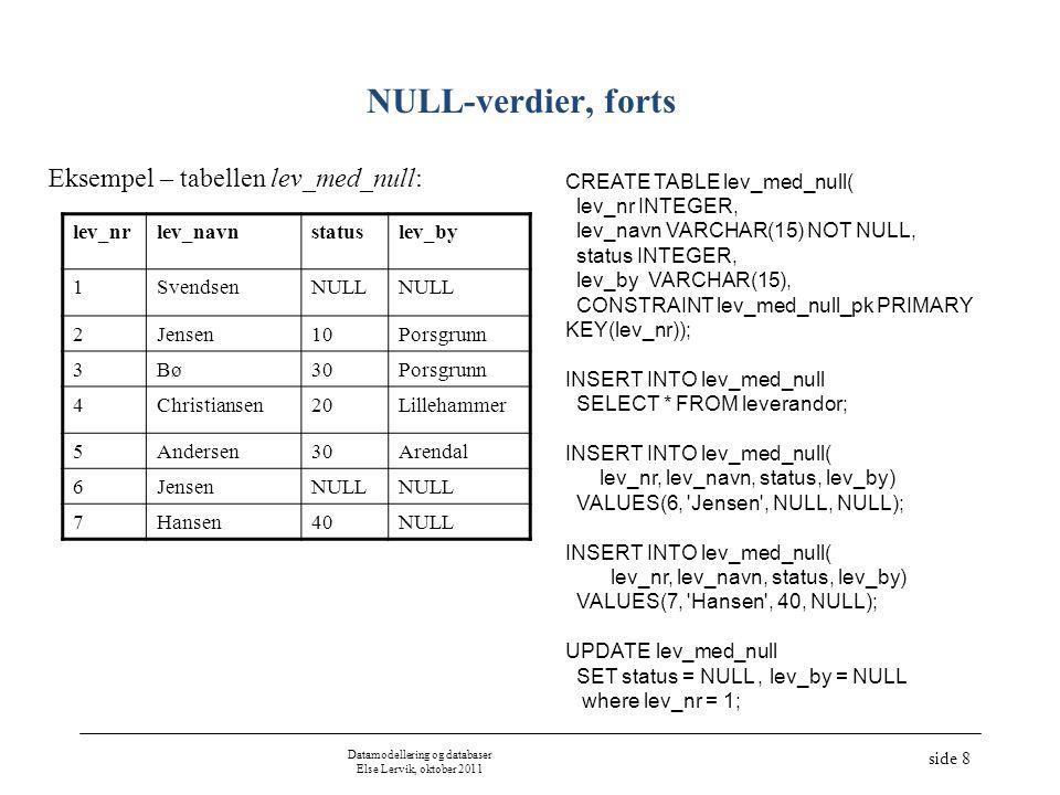 Datamodellering og databaser Else Lervik, oktober 2011 side 9 Test på NULL-verdier Test på likhet –select * from lev_med_null where status is null; Test på ulikhet –select * from lev_med_null where status is not null;