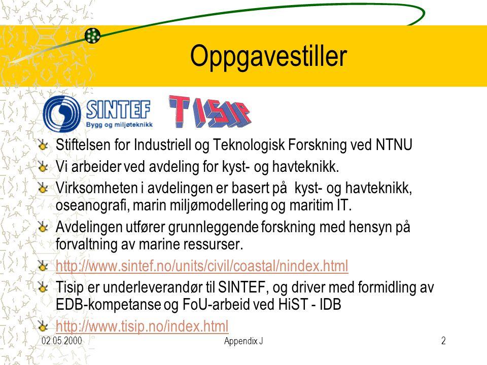 02.05.2000Appendix J2 Oppgavestiller Stiftelsen for Industriell og Teknologisk Forskning ved NTNU Vi arbeider ved avdeling for kyst- og havteknikk.