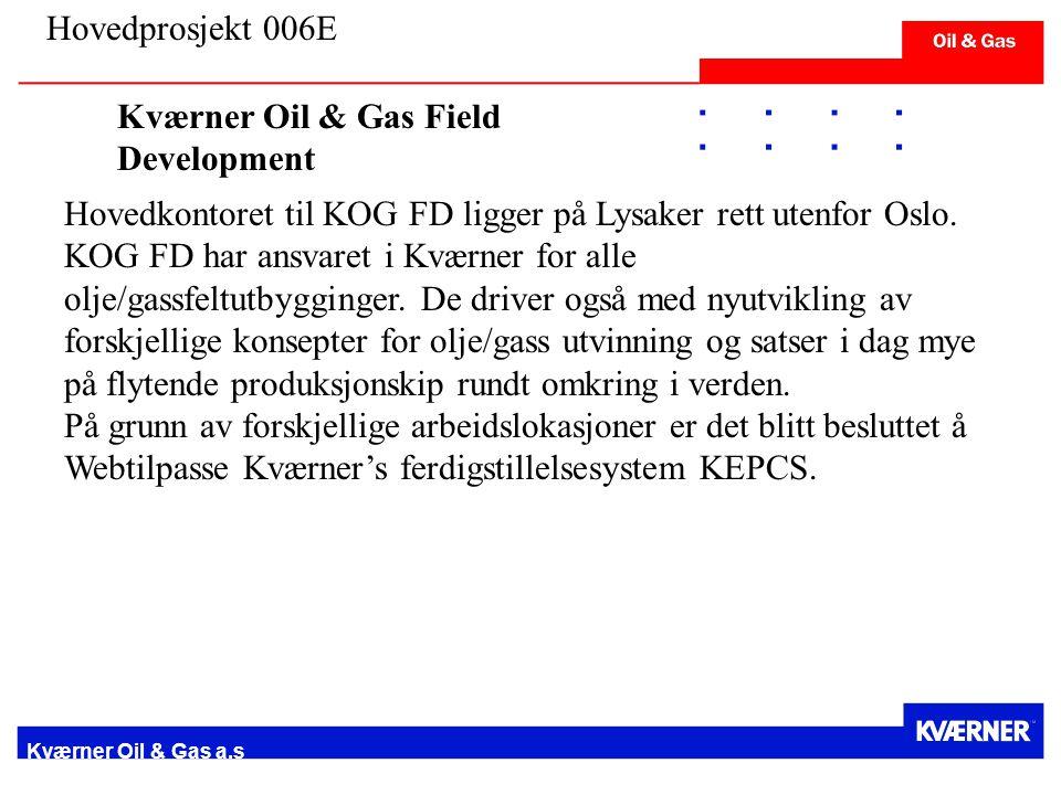 Kværner Oil & Gas a.s Hovedkontoret til KOG FD ligger på Lysaker rett utenfor Oslo.
