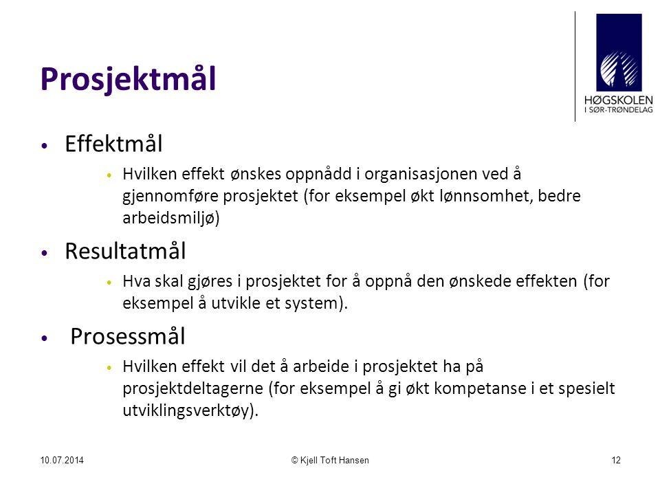 Prosjektmål Effektmål Hvilken effekt ønskes oppnådd i organisasjonen ved å gjennomføre prosjektet (for eksempel økt lønnsomhet, bedre arbeidsmiljø) Resultatmål Hva skal gjøres i prosjektet for å oppnå den ønskede effekten (for eksempel å utvikle et system).