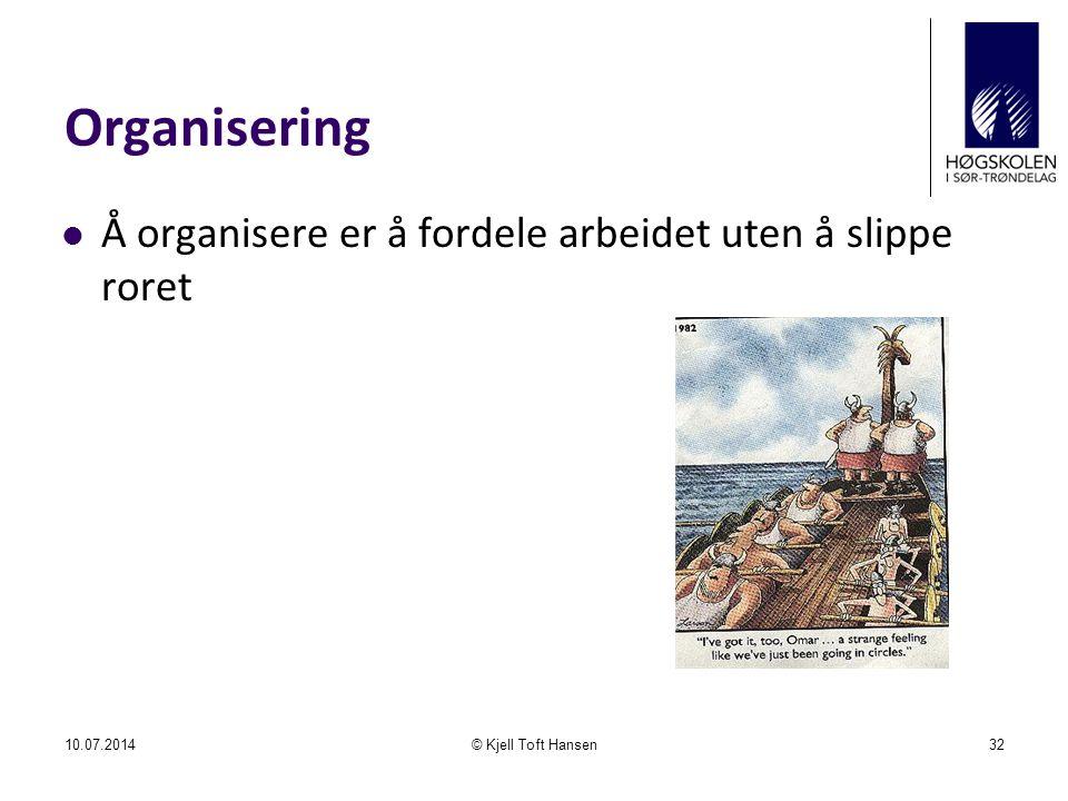Organisering Å organisere er å fordele arbeidet uten å slippe roret 10.07.2014© Kjell Toft Hansen32
