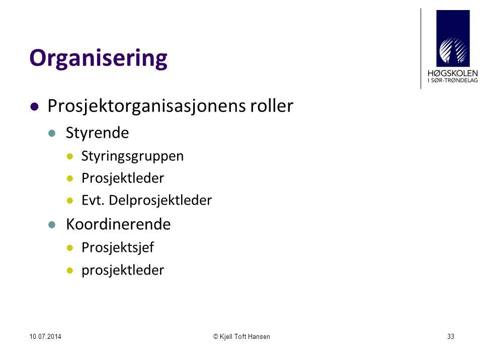 Organisering Prosjektorganisasjonens roller Styrende Styringsgruppen Prosjektleder Evt.