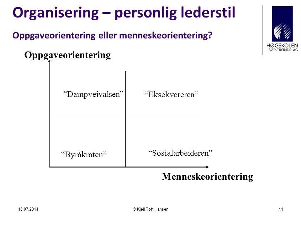 Organisering – personlig lederstil 10.07.2014© Kjell Toft Hansen41 Oppgaveorientering eller menneskeorientering.